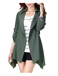 WSLCN Women's Lightweight Long Sleeve Jacket Trench Coat