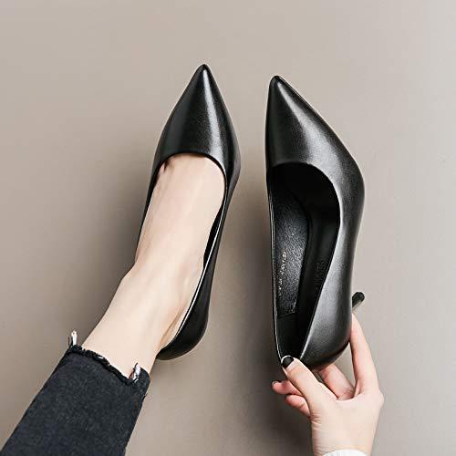 HRCxue Pumps Schwarze High Heels Damen Fein mit spitzenprofessionellen Damenschuhen mit weichen Wildleder-Lederschuhen