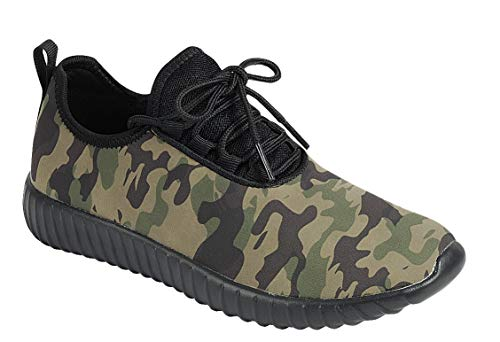Forever Link Women's Remy-18 Glitter Lace-Up Low Top Fashion Sneaker (8.5, Camoflauge)