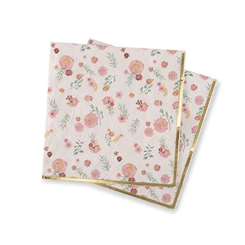 Blush Paper Napkins (Pink Floral Napkins Decorative Paper Napkins with Elegant Flower Pattern and Metallic Gold Foil Detail Cocktail Dessert Napkin (4.9