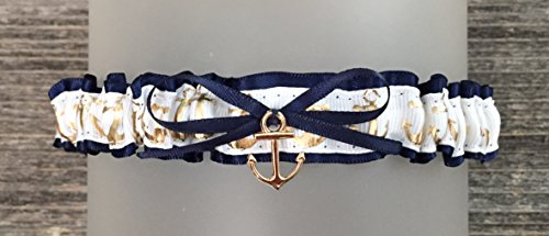 (SEXY Navy Blue Satin White Gold Anchor Wedding Bridal Toss Demi Garter - Gold Anchor Charm)