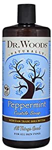 Dr. Woods Pure Peppermint Liquid Castile Soap with Organic Shea Butter, 32 Ounce