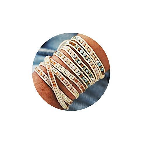FINETOO Braided Rope Strand Bracelet Set Handmade Beads Weave Wrap Bracelet for Woman Girls (Wrap Bracelet For Men)