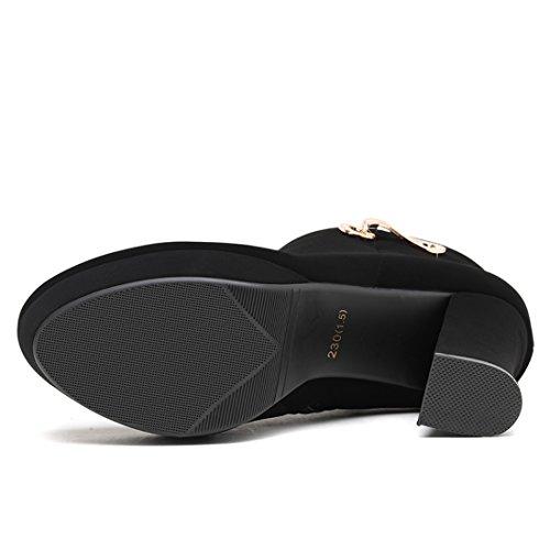 Women's Classic Ankle Boots Fuax Furs Linning Side Zipper High Stacked Heel Bootie 5jKWk7DB0