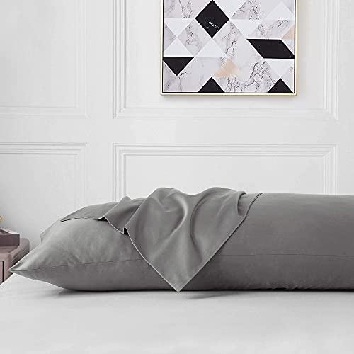 "Leeden Cotton Body Pillow Cover, 800 Thread Count, Ultra Soft Breathable Silky Body Pillowcase for Adults Pregnant Women, Envelope Closure, 21""x 54"" Long Pillow Case, Light Grey"