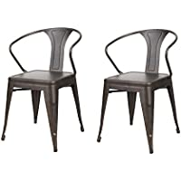 Homebeez Industrial Curve Arm Chairs Outdoor Indoor Stackable Stylish Metal Chairs (Set of Two) (Bronze)