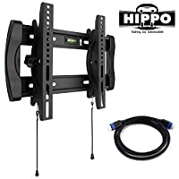 "HIPPO HP8019 TV Wall Mount Bracket for most 15""- 37""(some up to 47"") LED LCD Plasma Flat Screen TVs up to 100 lbs VESA up to 300300 mm, 10 Degree tilt , with a 5 ft Braided HDMI Cable"