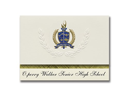 Signature Announcements O.perry Walker Senior High School (New Orleans, LA) Graduation Announcements, Presidential Elite Pack 25 with Gold & Blue Metallic Foil seal (O Perry Walker High School New Orleans)