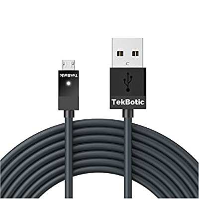 tekbotic Charge & Play PS4 Controller Charger / Xbox One Controller Cable : Micro USB Charging Cable, Black, 1-Pack, 9 foot - LED Charge Indicator Light