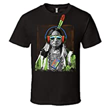 Native Beats American Indian Chief Headphones T-Shirt Mens Short Sleeve Tee Black 2X-LARGE