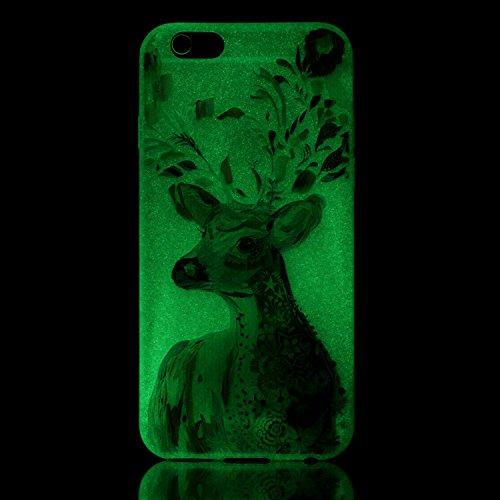 Voguecase® für Apple iPhone 6/6S 4.7 hülle, Schutzhülle / Case / Cover / Hülle / TPU Gel Skin mit Nachtleuchtende Funktion (Aquarell/Hirsch 01) + Gratis Universal Eingabestift