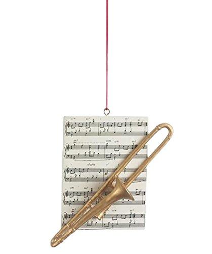 Trombone Brass Instrument Resin Stone Christmas Ornament - Figurines Reindeer Brass