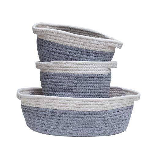 Mila Millie Cotton Rope Woven Baskets | Set of 3 Storage Organizer | Modern Chic Design Baby Nursery Bin | Bibs, Toys, Diapers, Art Craft Supplies Holder | Shower Gift | Eco Friendly (White & Gray)