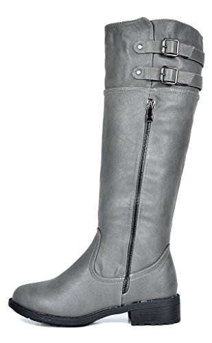 DREAM PAIRS Women's BRADENN Fashion Boot Grey Regular Calf IHnAI