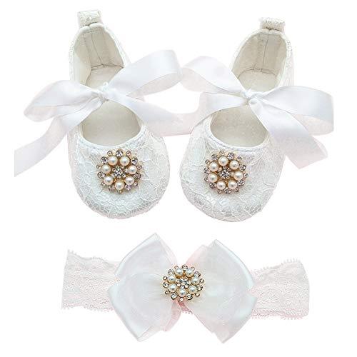 Glamulice Baby Girl Infant Satin Mary Jane Baptism Lace Shoes Dance Ballerina Headband Set (3M / 0-6Months, Off-White Shoes & Headband) from Glamulice