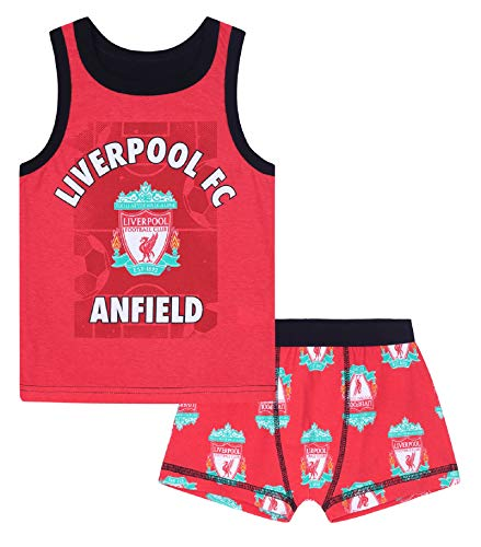 5a156f7d74903 Liverpool FC Official Soccer Gift Boys Boxer Shorts & Vest Set 10-11 Years
