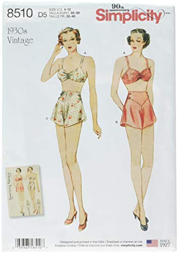 (Simplicity Pattern 8510 D5 Misses' Vintage Brassiere and Tap Panties SEWING PATTERN, Size 4-12 )