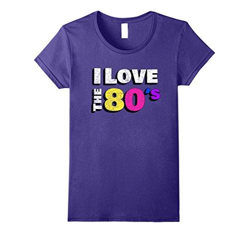 Womens I love the 80s Shirt Retro Eighties Fancy Dress T-Shirt XL Purple