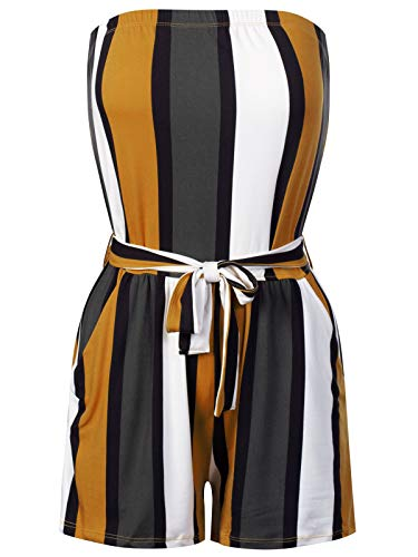 BEYONDFAB Women's Sexy Pinstripe Printed Tube Romper Summer Jumpsuit Camel L