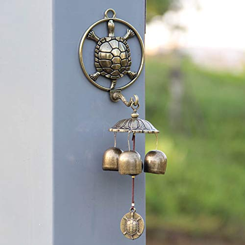 CJH Golden Turtle Home Wall Hanging Bronze Three Bells Metal Self-Priming Feng Shui Wind Chime Doorbell Home Decoration Wind Chimes