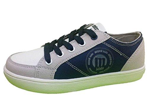 MTNG Kids Cheiw 47300 - Zapatillas Deportivos Adolescente Niño Lona Gris Claro/Blanco/Marino (34)