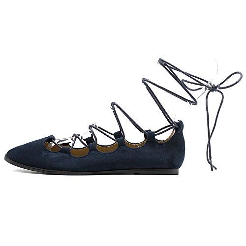 Ollio Scarpe Da Donna Comfort Leggero Faux Suede Lace Up Ghillie Ballet Flats Navy