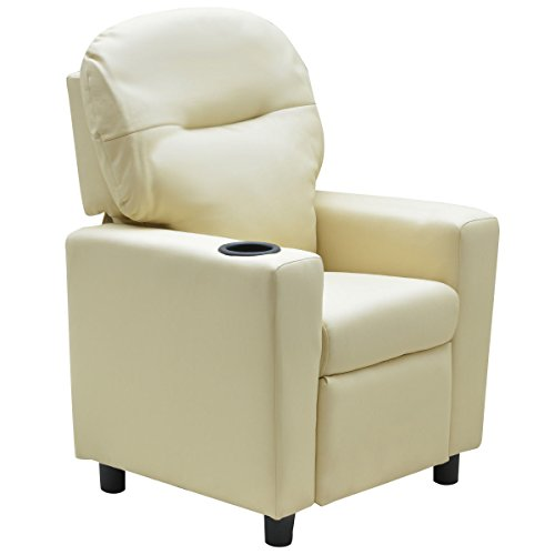 Costzon Contemporary Kids Recliner, PU Leather Lounge Furniture for Boys & Girls W/Cup Holder, Children Sofa Chair (Beige) by Costzon (Image #2)