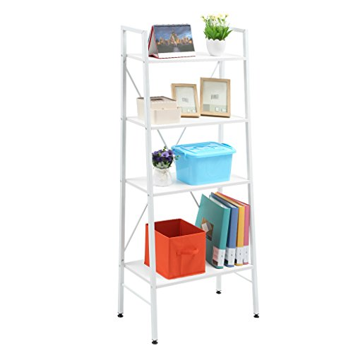 LANGRIA 4-Tier Leaning Shelf Storage Rack Shelving Unit with Steel Frame, Adjustable Feet, Max Capacity 132.3lbs, 23.6L x 11.8W x 58.3H, White Finish - Slanted Shelving Unit