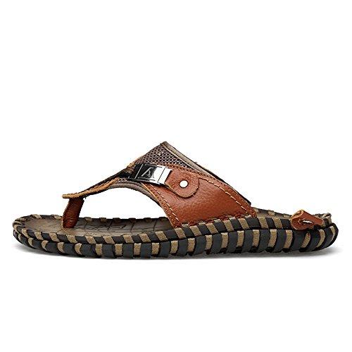 Men's Casual Flip Flops Shoes Genuine Leather Beach Slippers Non-Slip Handwork Sole Sandals,Flip Flop Sandals for Men Brown
