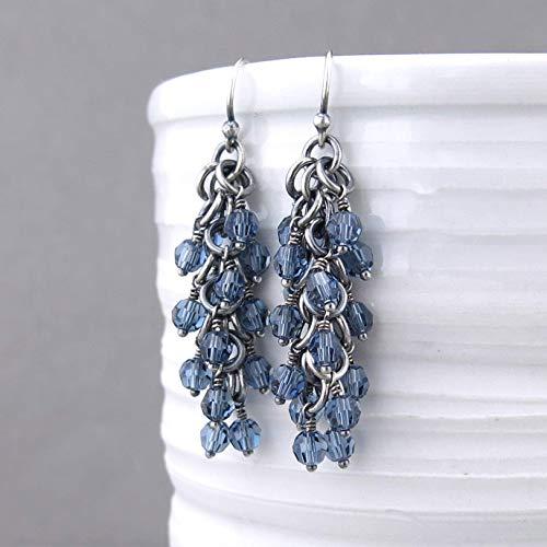 abcb3bfa5 Amazon.com: Sterling Silver Denim Blue Crystal Bead Cluster Drop Earrings  Gift for Women - Shaggy Loops: Handmade