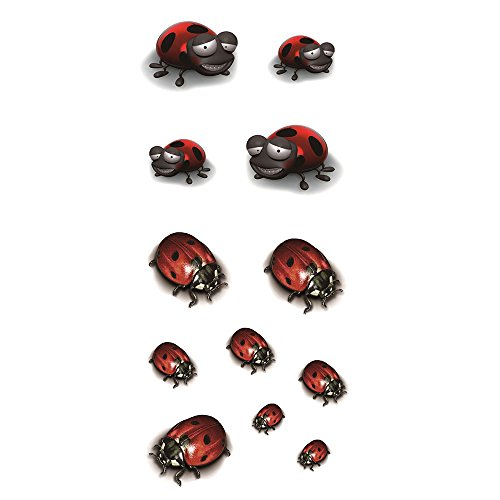 (Oottati 3D Assorted Cute Cartoon Ladybug Temporary Tattoo (2)