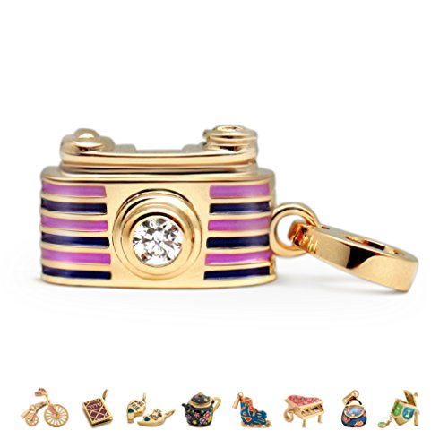 - CHARMULET 14k Plated Gold - Purple Color - Interactive Camera Charm - Compatible with Charm Bracelet by Charmulet - Gift Box Included