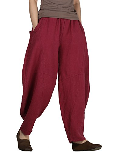 Women's Cotton Linen Pants Cropped Wide Leg Baggy Tapered Capri Elastic Waist Ankle Trousers with Pockets XL Burgundy
