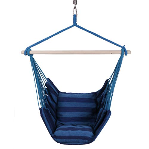 KLM Hanging Rope Hammock Chair Swing   Perfect Hanging Chair for Bedroom, Porch Swing Hammock Chair, Indoor Hammock   Hammock Swing Chair Indoor-Outdoor One Person Swing with Pillows and Hanging Kit (Tree Hammock Chair)
