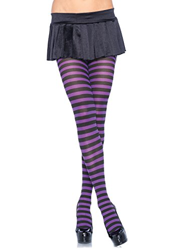 Halloween Witch Costume Accessories (Leg Avenue Women's Nylon Striped Tights, Black/purple, One)
