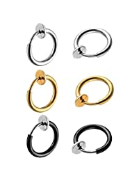 6pcs 8MM Stainless Steel Hoop Non Pierced Fake Earrings Nose Rings for Tragus,Cartilage,Gold,Silver,Black