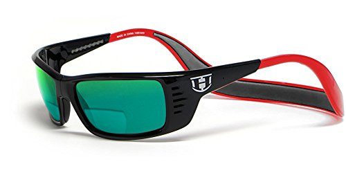 Hoven Eyewear MEAL TICKET Polarized Bi-Focal Reading Sunglasses manufactured under license if Clic Magnetic Glasses in Black & Red w/Green Mirror Lens ()