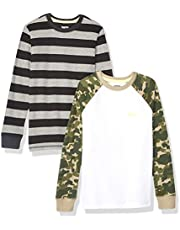 Marca Amazon - Spotted Zebra Pack de 2 Camisetas Térmicas de Manga Larga Niños