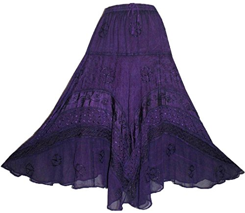Agan Traders 704 SK Dancing Full Embroidered Twirl Long Renaissance Skirt (Large/X-Large, Purple) (Embroidered Full Skirt)
