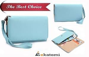 PU Leather Universal Phone Cover Women's Wallet Wrist-let fits Huawei U8860 Honor Case - BLUE. Bonus Ekatomi Screen Cleaner