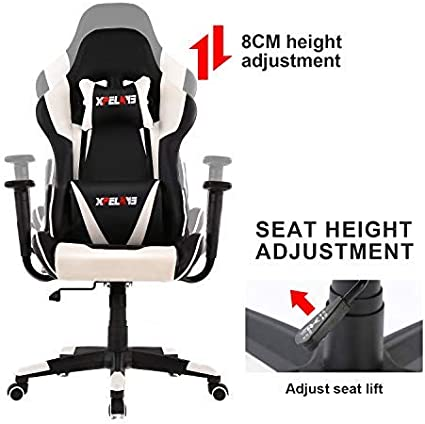 XPELKYS Office Chair Gaming Chair Computer Game Chair Video Game Chair Racing Style High Back PU Leather Chair Executive and Ergonomic Style Swivel Chair with Headrest and Lumbar Support