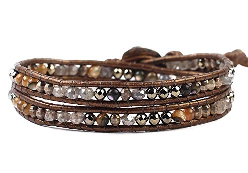 Chan Luu Dark Grey Mix Mineral Stone and Nugget Beaded Dark Brown Leather Wrap Bracelet