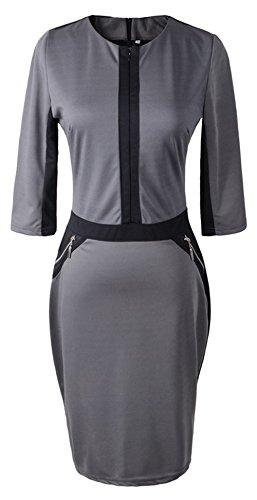 U-Shot elegante de la mujer con cremallera frontal OL Partido Túnica Lápiz Vestido de Slim gris