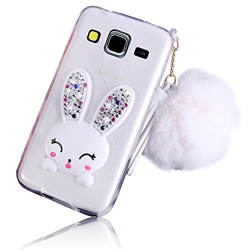 Sunroyal Samsung Galaxy Core Prime SM-G360F SM-G361F Soft Transparent TPU 3D Cute Cartoon Rabbit Bunny [Bling Diamond Stand Ear] Silicon Crystal Clear Case with Hairball Pompon Hand Strap White