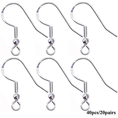 925 Sterling Silver Earring Hooks Hypoallergenic French Wire Hooks Fish Hook Earrings Jewelry Findings Parts DIY Making 40pcs