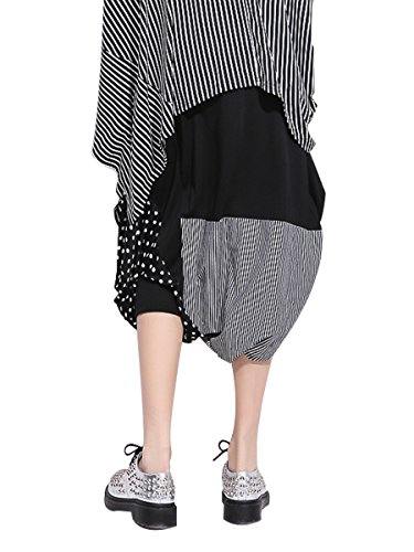 Damen 3/4 Haremshose Freizeithose Loose Fit Hip Hop Streetwear - Patchwork Cartoon Schaf Schwarz