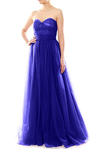 Women Convertible Bridesmaid Party Sweetheart Blue Royal Dress MACloth Long Wedding Tulle Rq1awdS