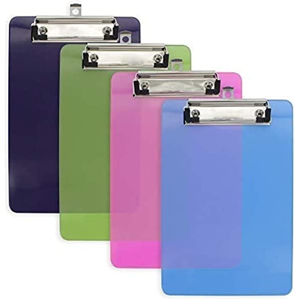 6 Pcs, 12.5 x 9 Inch, Assorted Color Offices Restaurants Vumdua Plastic Strong Clipboard Heavy Duty Clipboard for Memo Holds 100 Sheets Paper