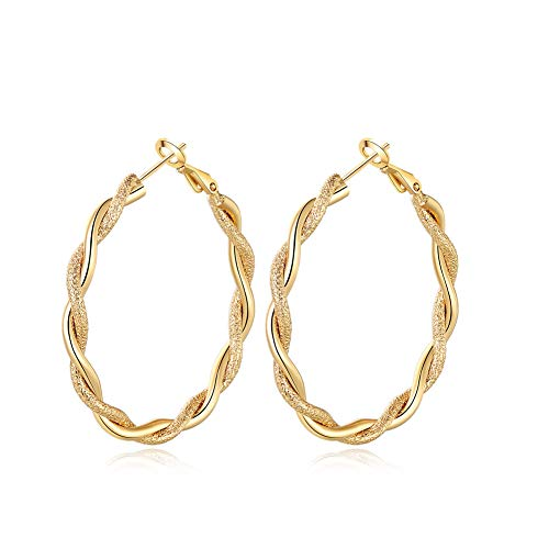 Yumay-Twisted Rope Gold Hoop Earrings 14K Gold Plated Filled Creole for Girls or Womens(40mm) ()