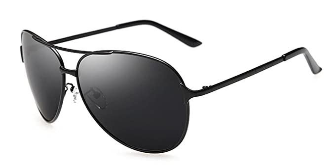 309f22afc210 Aoron Men's Classic Aviator Polarized Sunglasses with Black Metal Frame  Black-gray Lens